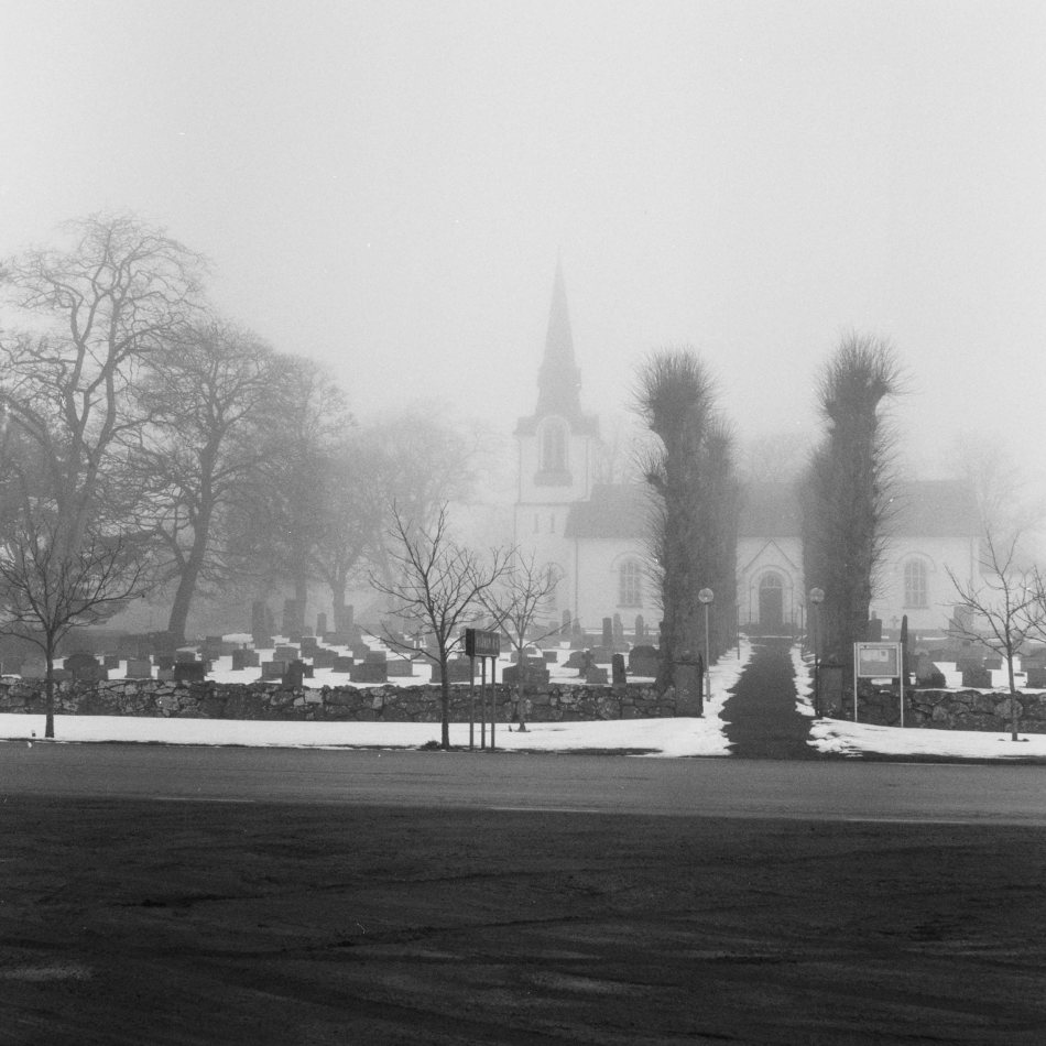 Kvänum church in fog.